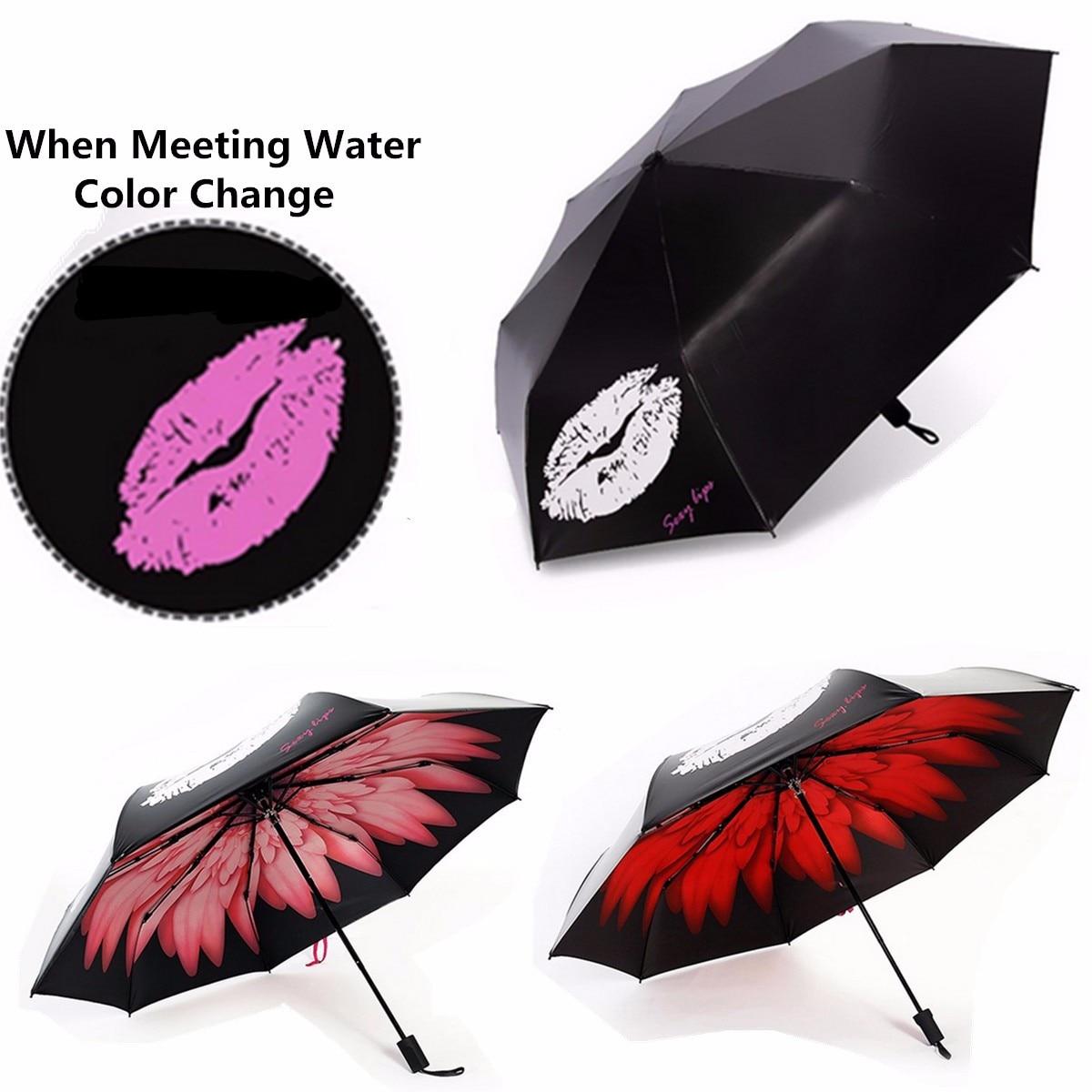 anti uv parapluie lvres changement de couleur parapluie coupe vent parasol pluie soleil preuve pliage - Parapluie Color