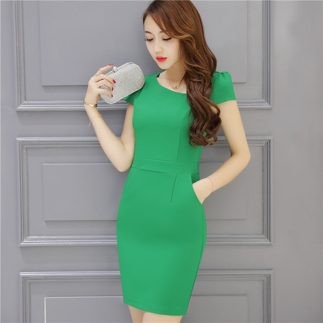 44d0cf50bcf7 Women Chiffon Dress Work Clothing Short Sleeve Plus Size Office Dresses  2017 New Summer OL Style Workwear Uniform