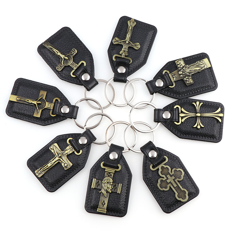 12pcs PU Leather KeyChains  Catholic Key Charm Pendants For Men Black Tag Antique Bronze Plated Hook Key Religion Key Charms