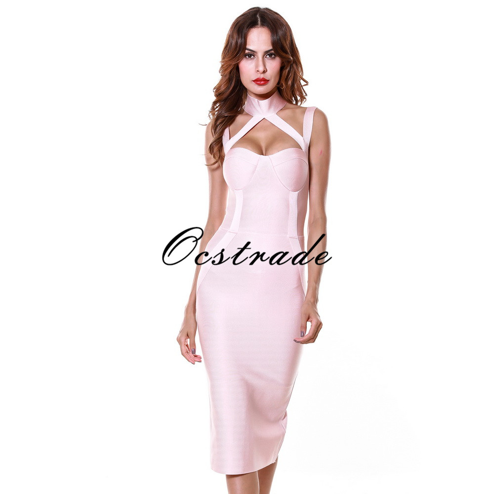 Pink Dresses 2016 Hot Sexy Bodycon Sleeveless Bandage Dress Rayon New Arrival Wholesale HL