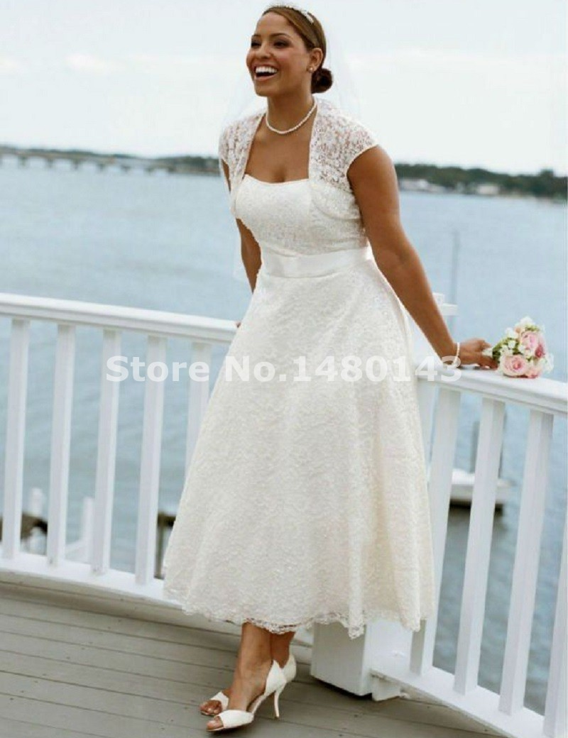 New Style Strapless Tea Length Lace Short Beach Casual Plus Size Wedding Dress with Jacket Bridal Gowns Custom Size-in Wedding Dresses from Weddings & ...