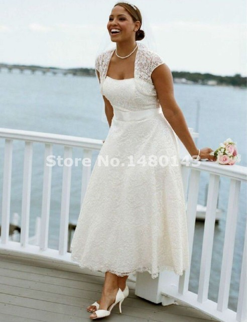 New Style Strapless Tea Length Lace Short Beach Casual Plus Size ...