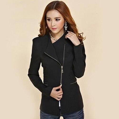 Candy Color Long Sleeve Women Zipper Blazer Suit Slim Casual Jacket Coat Outwear