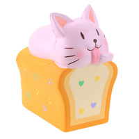 Cute Toast Cat Squishy Antistress Slow Rebound Soft Band Fragrance PU Simulation Animal Decompression Toys for Children