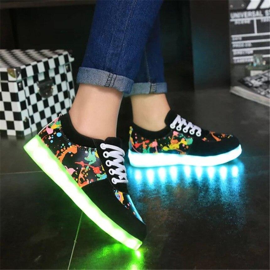 کفش بچه گانه با چراغ های روشن روشن کفش ورزشی درخشان کفش گاه به گاه lnfantil کفش دخترانه