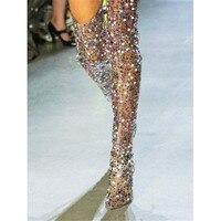 Роскошные Прозрачные высокие сапоги до бедра из ПВХ с разноцветными стразами и шипами, модные женские сапоги на высоком каблуке с прозрачны
