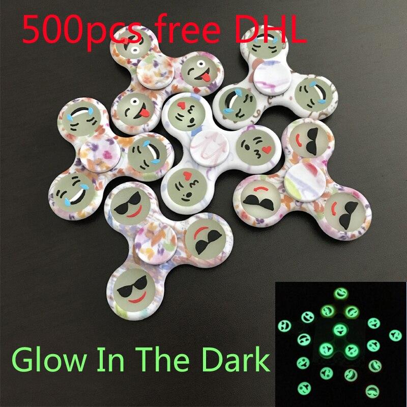 500 Pcs DHL Free Hand Spinner Emoji Bearing Tri-Spinner Fidget Toys Spinner Fidget Glow In The Dark Plastic EDC for Autism ADHD потолочный светильник favourite 1025 3p