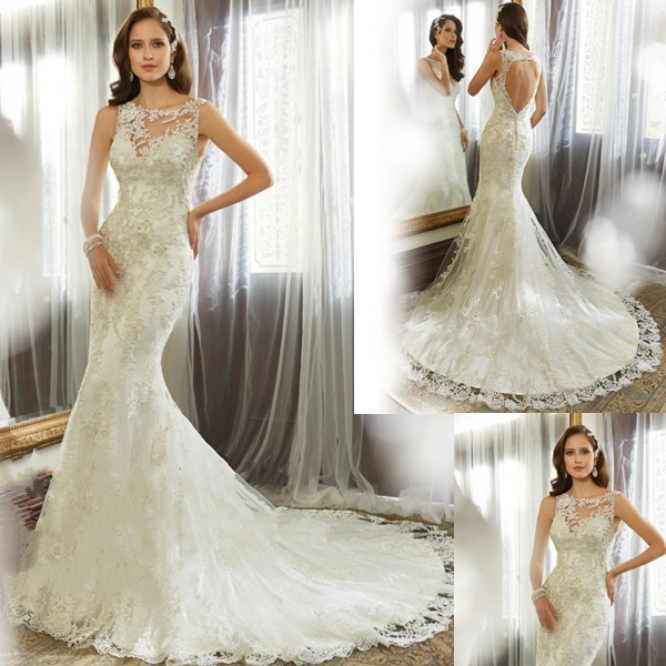 Vestido de noiva 2018 Brides Sexy Open Back Lace appliques Mermaid Vestido De Casamento bridal gown mother of the bride dresses 1