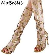 Mobeini Сексуальная женская летняя обувь до колена высокие сапоги-гладиаторы в римском стиле отверстия вырезами Босоножки с открытым носком Клубная вечеринка Shoes туфли-лодочки высокий каблук