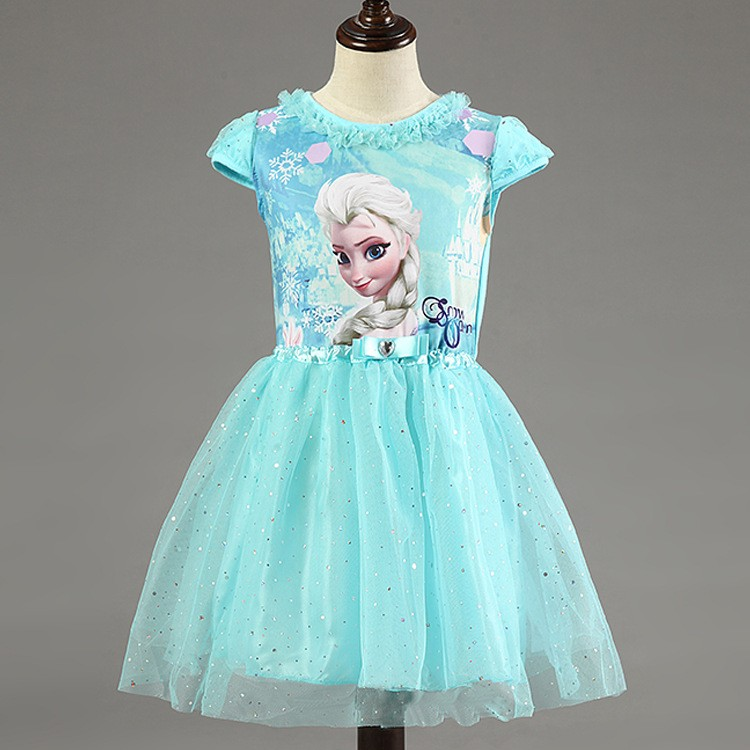 Brand Girl Dress Summer Toddler Girls Clothes Lace Sequins Princess Anna Elsa Dress Snow Queen Halloween Party Costume 3-7Y