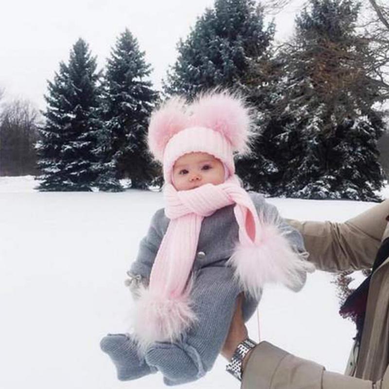 fb6c923424e 2018 Mom and Newborn Baby Boy Girls Winter Warm Double Fur Pom Bobble Knit  Beanie Hat Cap