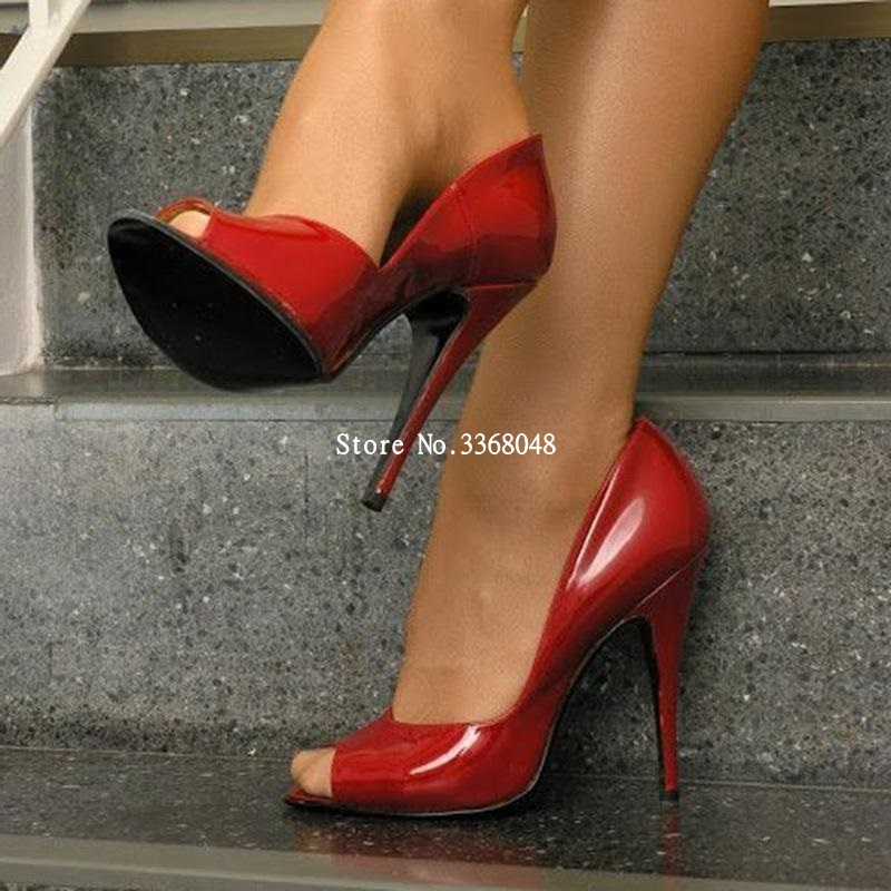 Sexy Red Peep Toe Stiletto High Heels Pumps Woman Slip On Hollow Out Party Dress Shoes Office Ladies Daily Footwear Pumps