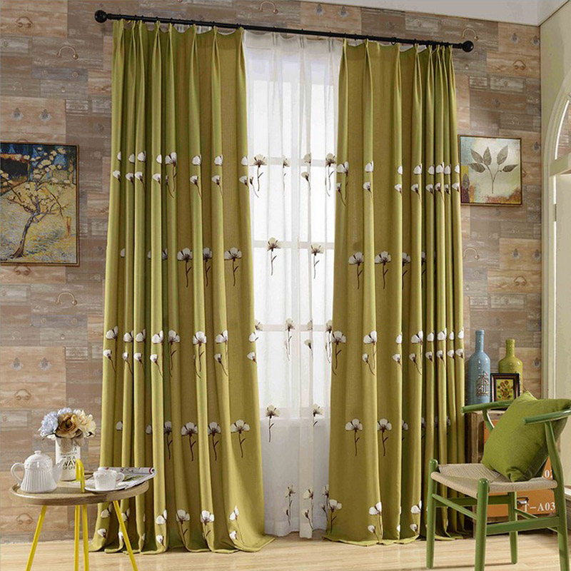 Modern cotton linen green embroidery curtains for living for M s living room curtains