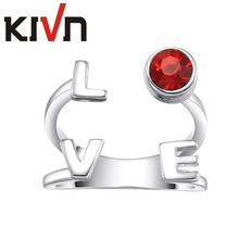 KIVN Womens Fashion Jewelry Luxury LOVE Adjustable Red CZ Cubic Zirconia Rings Promotional Mothers Day Birthday Christmas Gifts