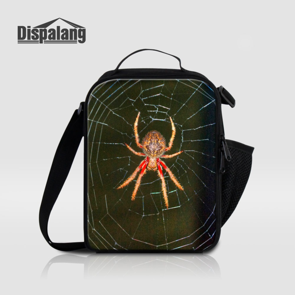 Dispalang Animal Spider Lunch Bag For Children Portable Insulated Lunch Box Kids Canvas School Food Lunch Sack Cross Body Bolsa