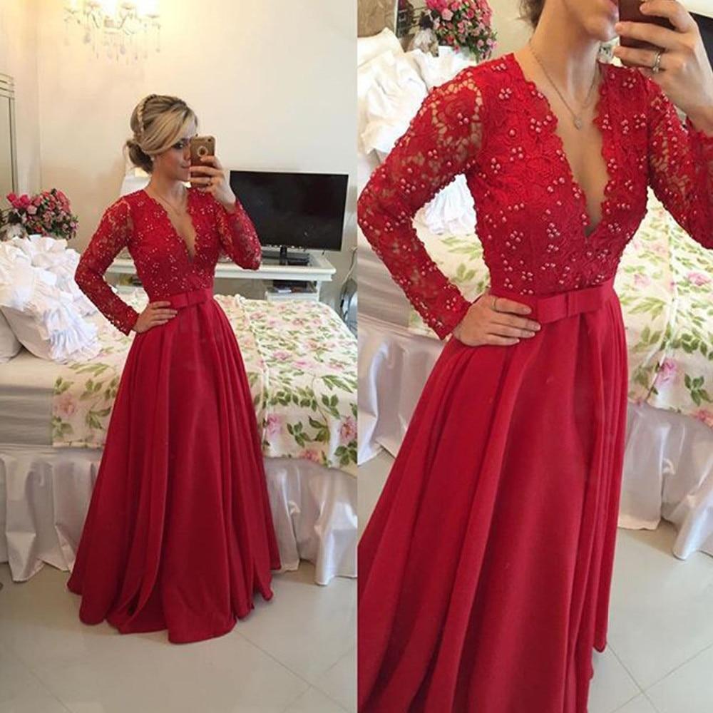 Manches longues dentelle Top rouge Satin robes de soirée Illusion retour Vintage robes de bal 2017 femmes formel
