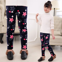 Super soft Plus Velvet Thickening Children Pants Clothes Cute Bow/Heart/Star Pattern Warm Kids Leggings Small Girls Trousers