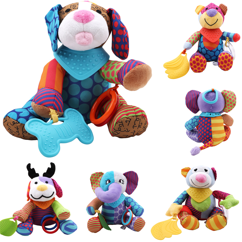 Cartoon Animal Baby Bed Stroller Hanging Music Rattles Newborn Mobile Rabbit Teether Appease Plush Toy For Children Doll