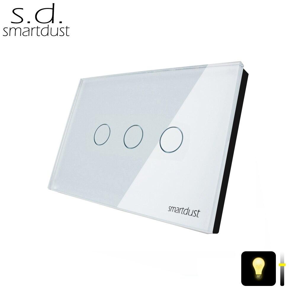 Smartdust 3 Gang 1 Façon UA/US Type Lumière Tactile Régulateur Commutateur, homekit Verre Mur Décoratif LED Lumière Interrupteur Variateur Tactile