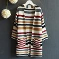 Chegada nova roupa dos miúdos camisola para a menina manga longa outono crianças suéter listrado roupas de bebê bonito da menina