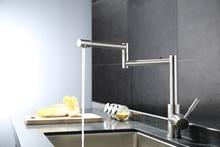 На бортике 304 нержавеющая сталь полированная медь стильный раковина смесителя горячей и холодной Складная кухонный кран пот наполнителя