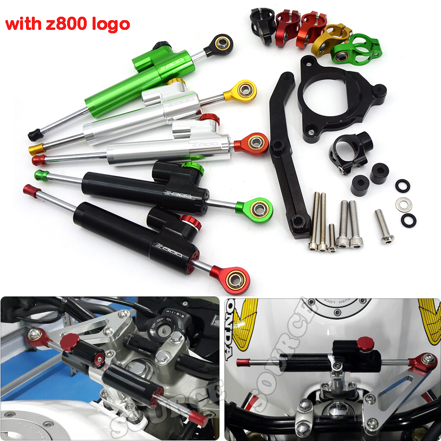 with Z800 Logo Motorcycle Moto Bike Scooter Steering Damper Stabilizer With Mount Bracket For Kawasaki Z800 Z 800 2013 2014 2015 for kawasaki z750 z800 z 750 z 800 universal motorcycle accessories stabilizer damper steering mounting all year