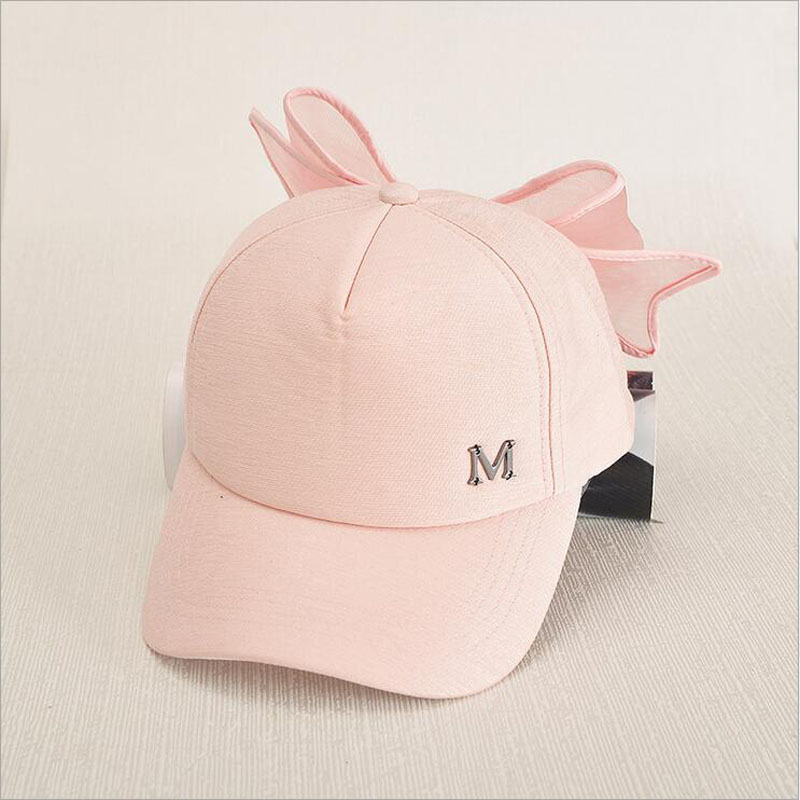 HOT Korea Spring Cap M mark Pink Hat With Big Bow Bending Brimmed Hat Baseball Caps Visor Women And Girl Sun Hat beanie beanie cartoon animal hat white kitty pink bow hat children caps skullies
