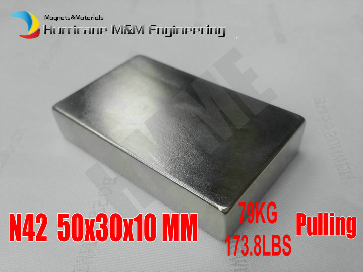 NdFeB Magnet Block 50x30x10 mm Strong Neodymium Permanent Magnets Rare Earth Magnets Grade N42 NiCuNi Plated 1pc 30 x 20 x 10mm strong block cuboid rare earth neodymium magnets n50 permanent magnet powerful magnet square magnet