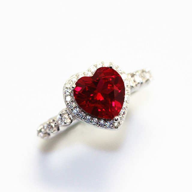 Red Ruby Heart Shape Gemstone Sterling 925 Silver Wedding Rings For Women Bridal Fine Jewelry Engagement Bague Accessories 2