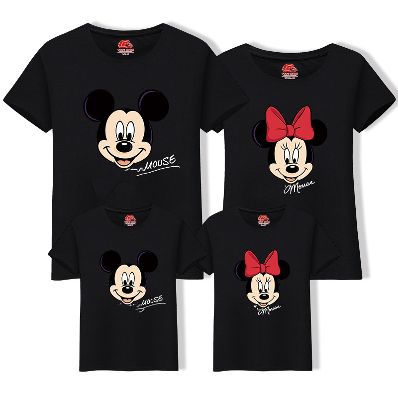 Family Matching Clothes Best Friend Tshirt Cartoon Mickey Printed T Shirt Family Look Mother Son Dad Daughter Matching Outfits