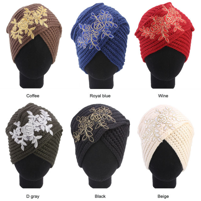 Muslim Vintage Winter Hat Warm Knit Cap Print Leaf Beanie Sleep