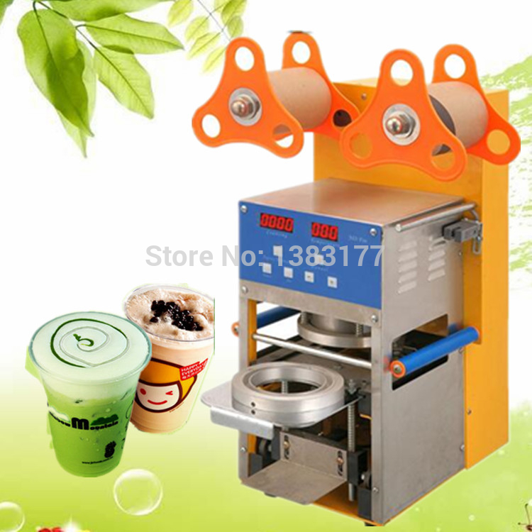 все цены на 17cm height commercial bubble tea coffee cup sealing machine electric cup sealing Stainless steel trays automatic cup sealer