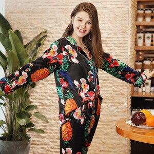 Image 3 - Sexy Silk Satin Pajama 2PCS Set XXL For Women Tropical Print Sleepwear Long Sleeve Trouser Summer Spring Pajama Set Nightwear