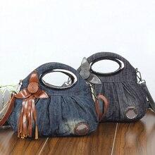 New Vintage Hobos Fashion bolsa feminina Leather Appliques Denim Jeans Women HandBags Evening Girls Bags Message Tote