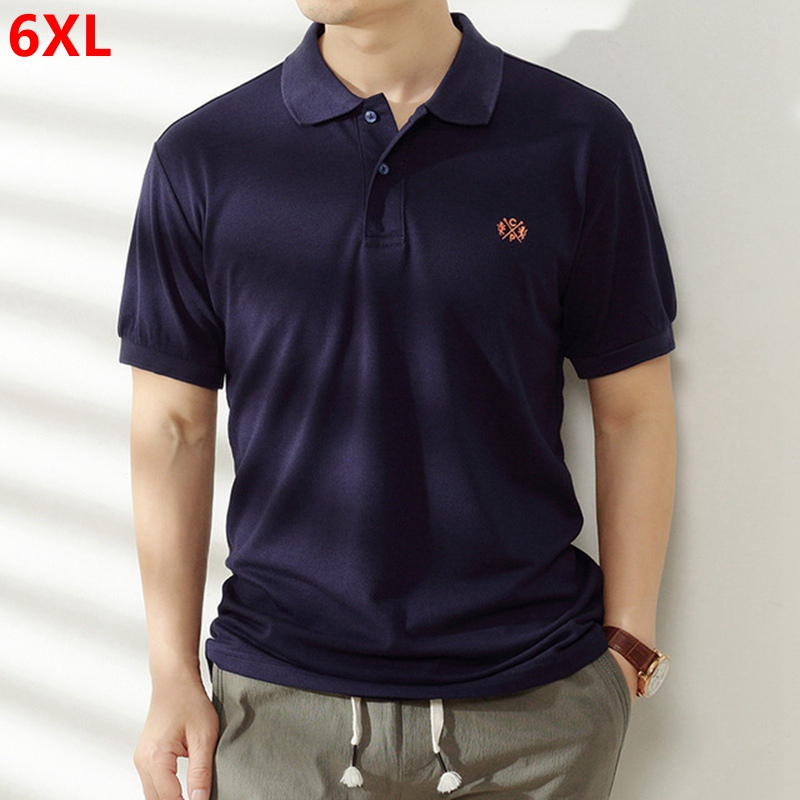 Large size cotton short-sleeved Polo Shirts male increase plus size tide Tops loose lapel was thin Polo Shirts extra large 6XL