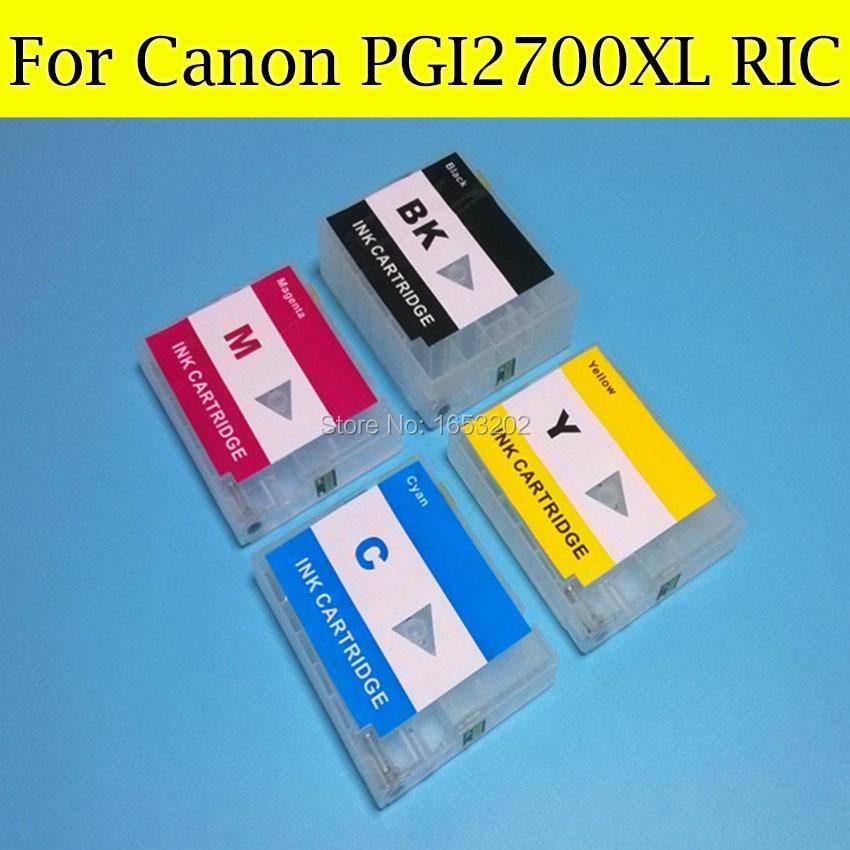 ФОТО 4 PCS/Lot Refillable Ink Cartridge For CANON PGI2700XL For Canon MAXIFY MB5370 MB5070 IB4070 Printer