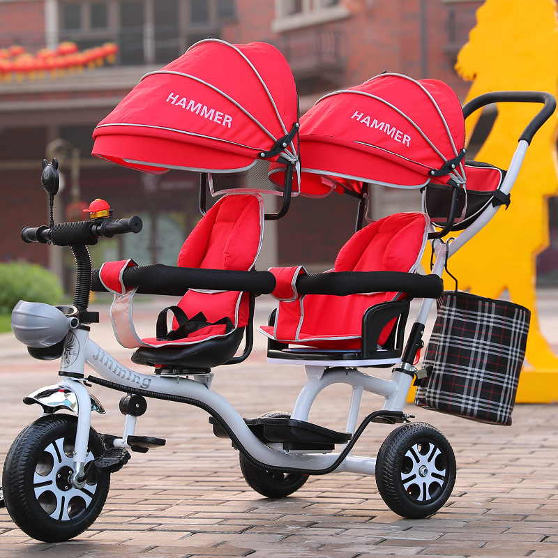 Twins baby stroller With foot pedal front and back seat baby sport children tricycle twins stroller bicycle rotary seat цена