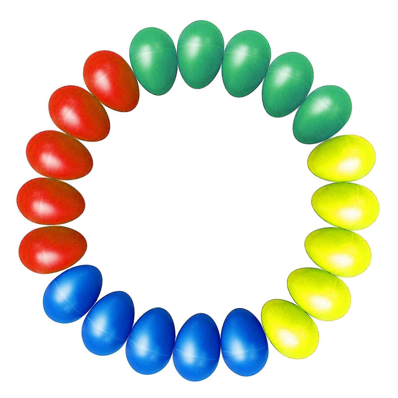 20pcs Shaker Eggs Plastic Musical Egg Shaker With 4 Colors Kids Maracas Egg Percussion Toys