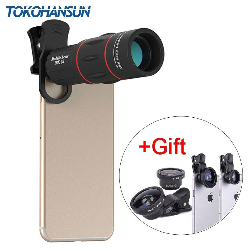 TOKOHANSUN lente de teléfono 18X telescopio lente telefoto con 3 en 1 lente Kit Fisheye gran angular Macro para Samsung todos los Smartphones