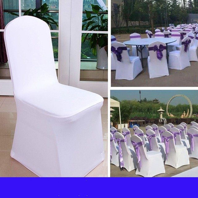 Wedding Chair Covers Lilac French Style Occasional Chairs 100 Pcs Universal White Polyester Spandex For Weddings Banquet Folding Hotel Decoration Decor