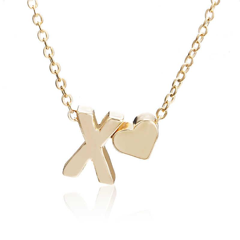קסמי זעיר זהב צבע מכתב שרשרת קולר ראשי תיבות שם שרשראות תליון לנשים ילדה הטובה ביותר יום הולדת מתנה x6