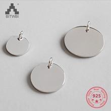 100% Genuine 925 Sterling Silver Fashion Simple Charm Geometric Glossy Round Pendant