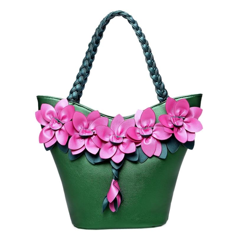 ФОТО 2017 spring women romantic flower tote shoulder bag vintage woven pattern color black large capacity light blue white handbag