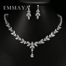 Emmaya Luxury Crystal Zircon Wedding Jewelry Sets African Jewelry Sets Choker Necklace Earrings for Women Free Shipping