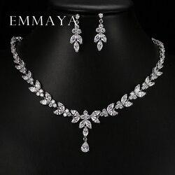 Emmaya Luxury Crystal Zircon Wedding Jewelry Sets African Jewelry Sets Choker Necklace Earrings for Women Free Shipping