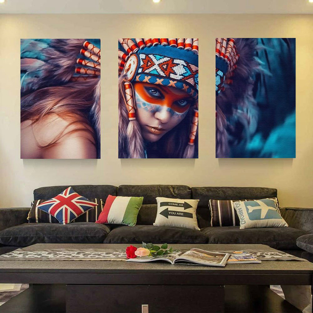 Merveilleux Modular Painting Modern Wall Art 3 Panel Native American Indian Girl  Feathered Prints Picture For Living