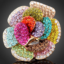 Chran Brand Accessories Fashion Flower Wedding Rings for Women Gold Color Shining Crystal Rings Jewelry Ladies Gift недорого