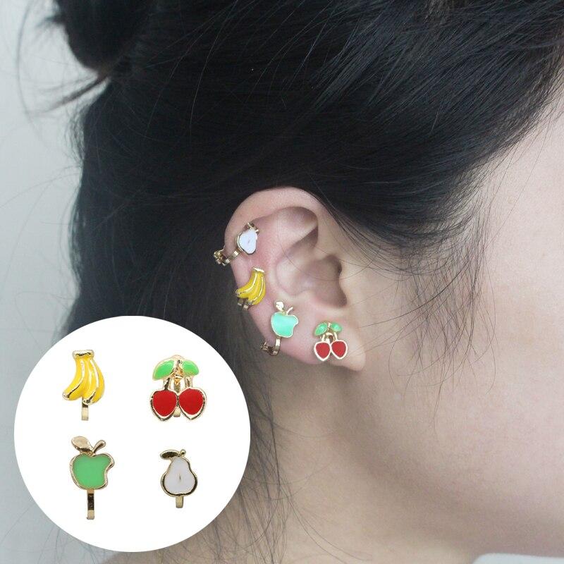 1pcs Fashion Summer Fruits Earrings Cherry Ear Cuff Clips Apple Banana Pear Clip On Earrings For Girls Kids Aretes De Mujer