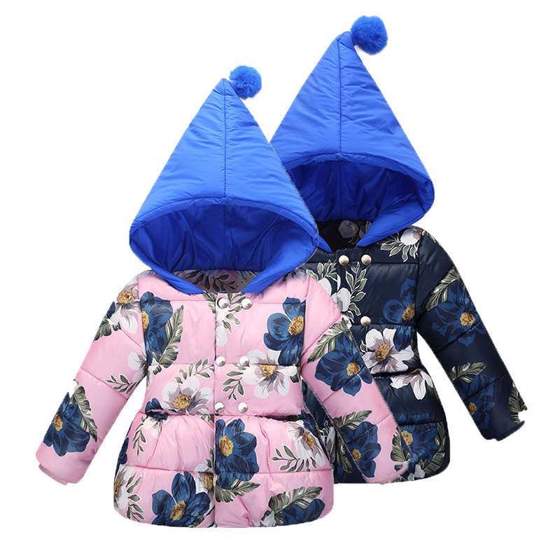 Baby Girl Winter Jacket Cotton Padding for Kids Children Parkas Floral Printed Coats Hooded Winter Outwears and Coat children winter coats jacket baby boys warm outerwear thickening outdoors kids snow proof coat parkas cotton padded clothes