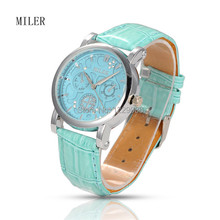 Women's Quartz Watches Stainless Steel Leather Diamond-studded Wristwatch, 6 Colors Black/Red/White/Skyblue/Orange/Sienna